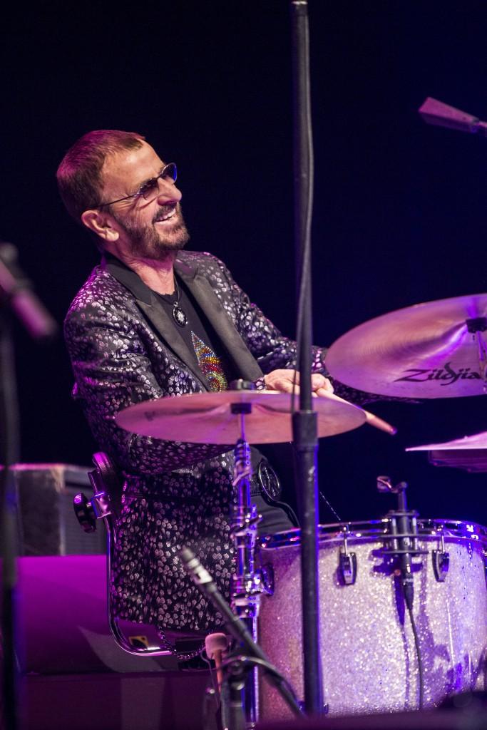 Ringo swinging on the kit/Photo by Scott Ritchie