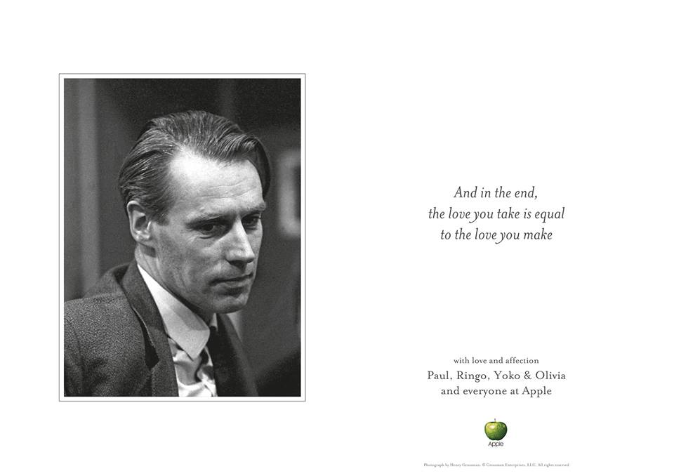 Tribute to George Martin via The Beatles' Facebook page
