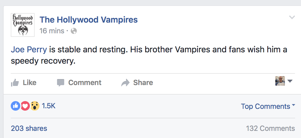 Hollywood Vampires FB Page Re Perry Condition 7-11-16