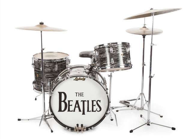 Ringo Starrs 1963 Ludwig Oyster Black Pearl Three Piece Drum Kit Used To Play Early Hits Like She Loves You And Can Buy Me Love Sold For