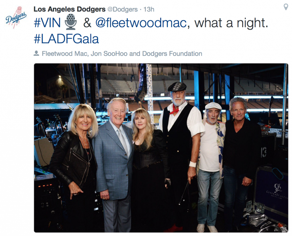 Vin Scully Fleetwood Mac Dodgers Tweet 7-28-16