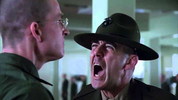 """R. Lee Ermey's Sgt. Hartman berating Matthew Modine's Pvt. """"Joker"""" in Stanley Kubrick's Full Metal Jacket"""