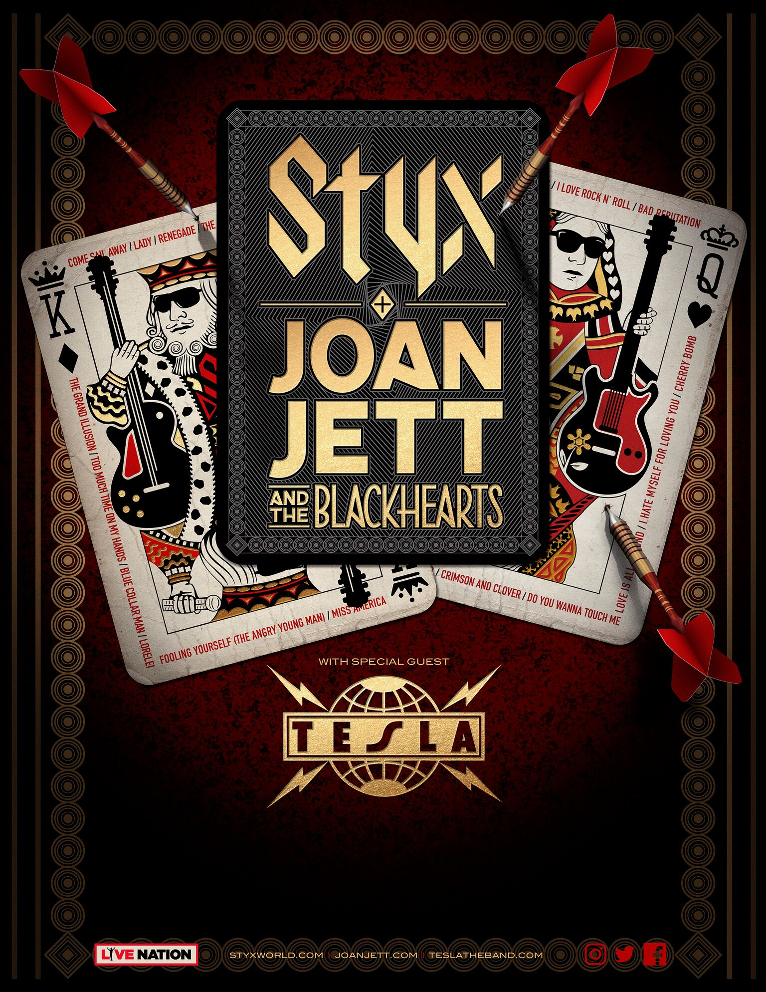 A Triple Bill Featuring Three Very Diffe Clic Rock Headliners Styx Joan Jett And The Blackhearts Tesla Will Head Out On Summer U S Tour That