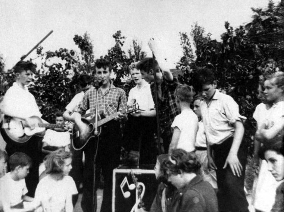 The Quarrymen perform at the Woolton Parish Church Garden Fete on 7/6/57