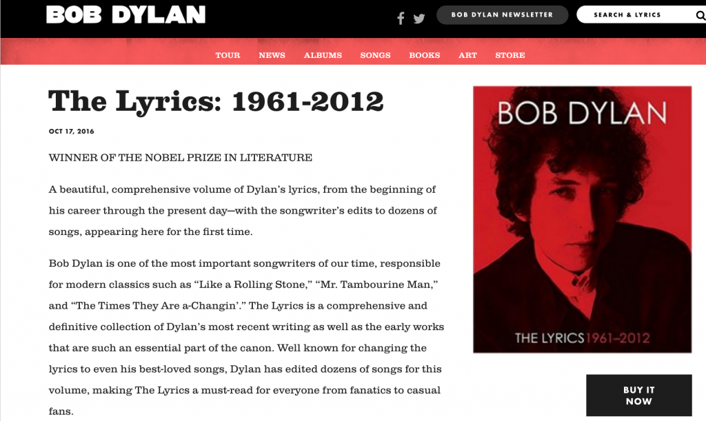 Dylan's web page acknowledges Nobel Prize win