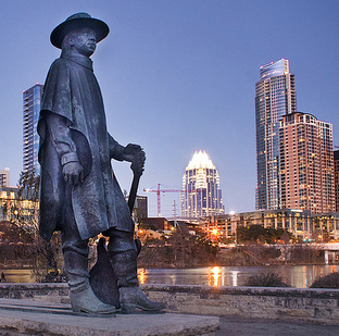 Stevie Ray Vaughan statue in Austin, TX at Auditorium Shores, where SRV played a number of shows/photo by Katie Haugland via Flickr
