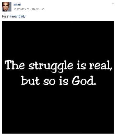 From Bowie's wife Iman's Facebook page