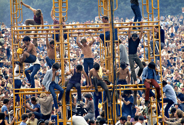 The sound tower, Woodstock Festival 1969. Bethel, NY Photo By ©Elliott Landy, LandyVision Inc.