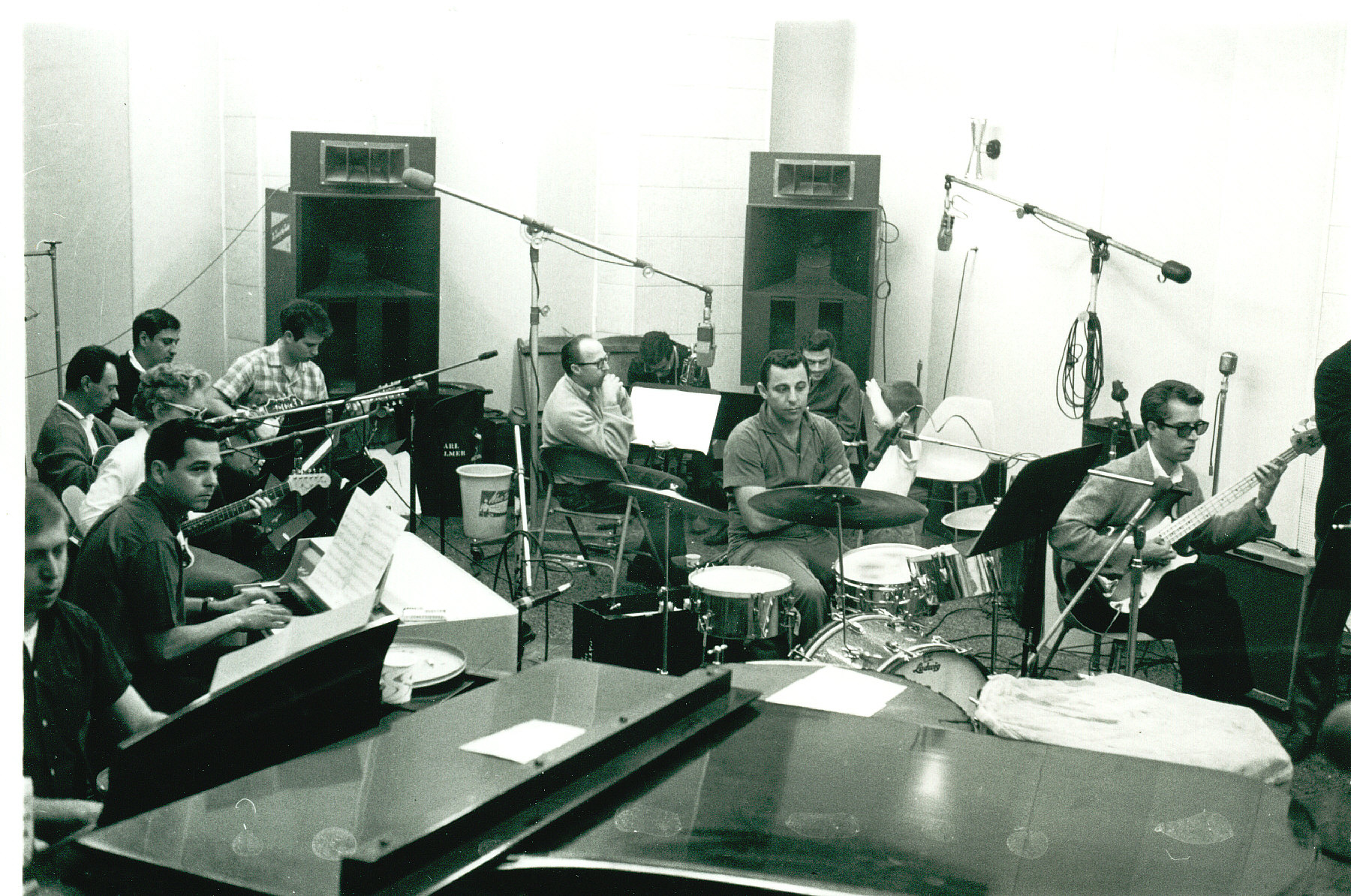 Members of The Wrecking Crew gathered for a Phil Spector session.