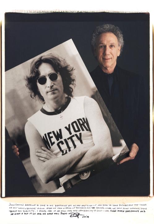 Photographer Bob Gruen with his shot of John Lennon he also gave me