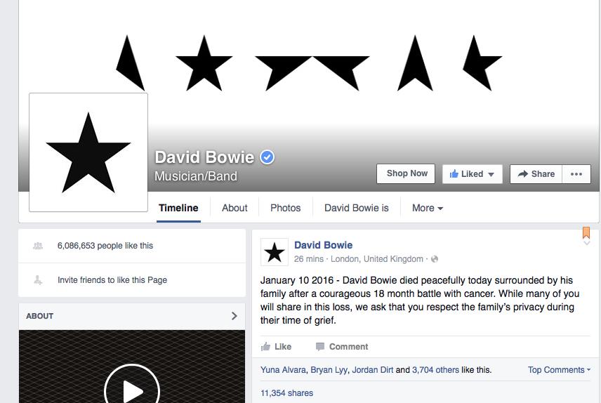 David Bowie Facebook