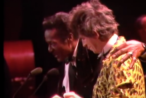 Keith Richards inducting Chuck Berry at the inaugural ceremony