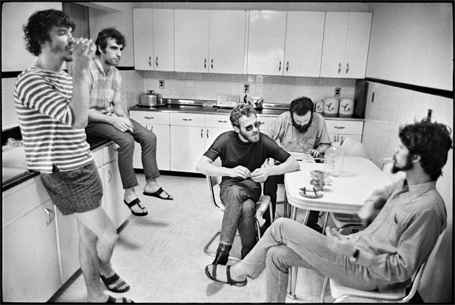 "The Band in the kitchen of ""Big Pink"", Easter Sunday, West Saugerties, NY, 1968. Photo By ©Elliott Landy, LandyVision Inc. (L-R) Rick Danko, Richard Manuel, Levon Helm, Garth Hudson, Robbie Robertson."