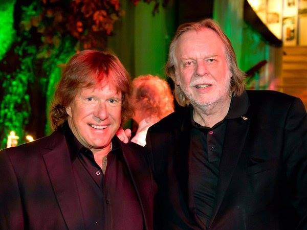 Two geniuses of the keyboard: Keith Emerson and Rick Wakeman (photo from Wakeman's Facebook page via Steve Brant)