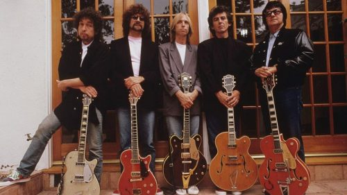 The Traveling Wilburys (l. to r.): Bob Dylan, Jeff Lynne, Tom Petty, George Harrison and Roy Orbison