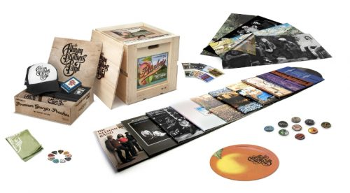 "Nine Allman Brothers Band albums are remastered from the original tapes for reissue on 180-gram vinyl and also available via this limited edition ""peach crate"" (US customers only)."