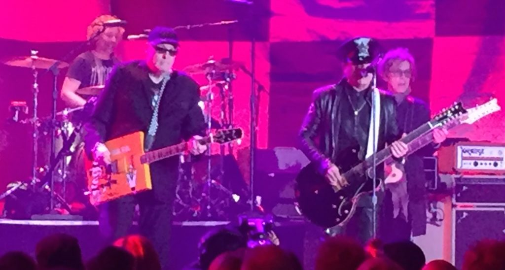 (L-R) Cheap Trick's Daxx Nielsen, Rick Nielsen, Robin Zander and Tom Petersson at the Front and Center taping, April 10 2016. (Photo: Greg Brodsky)