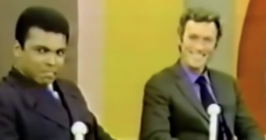 Ali and Eastwood share a light moment during their taping of The David Frost Show on October 26, 1969