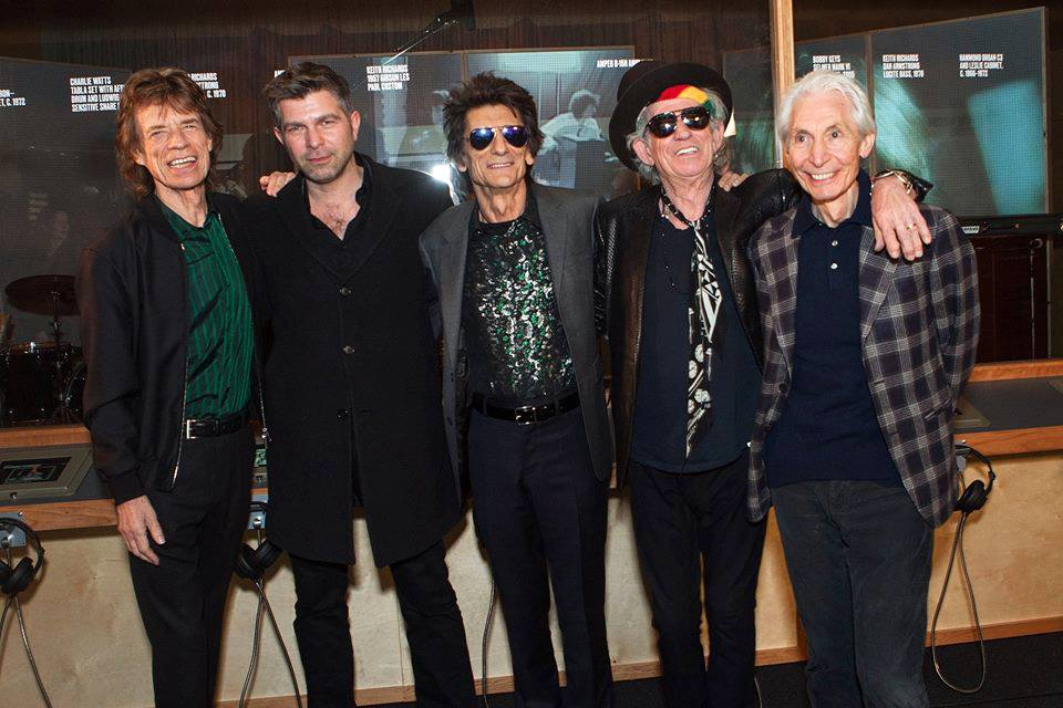 Alex Emanuel to his new mates Mick, Ron, Keith and Charlie at Exhibitionism at London's Saatchi Gallery