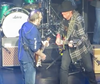 "Stephen Stills and Neil Young during ""For What It's Worth,"" May 21, 2016 Hollywood Pantages Theatre"