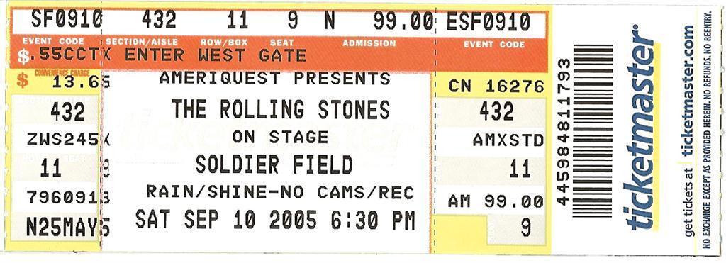 Stones Concert Ticket Nice Look