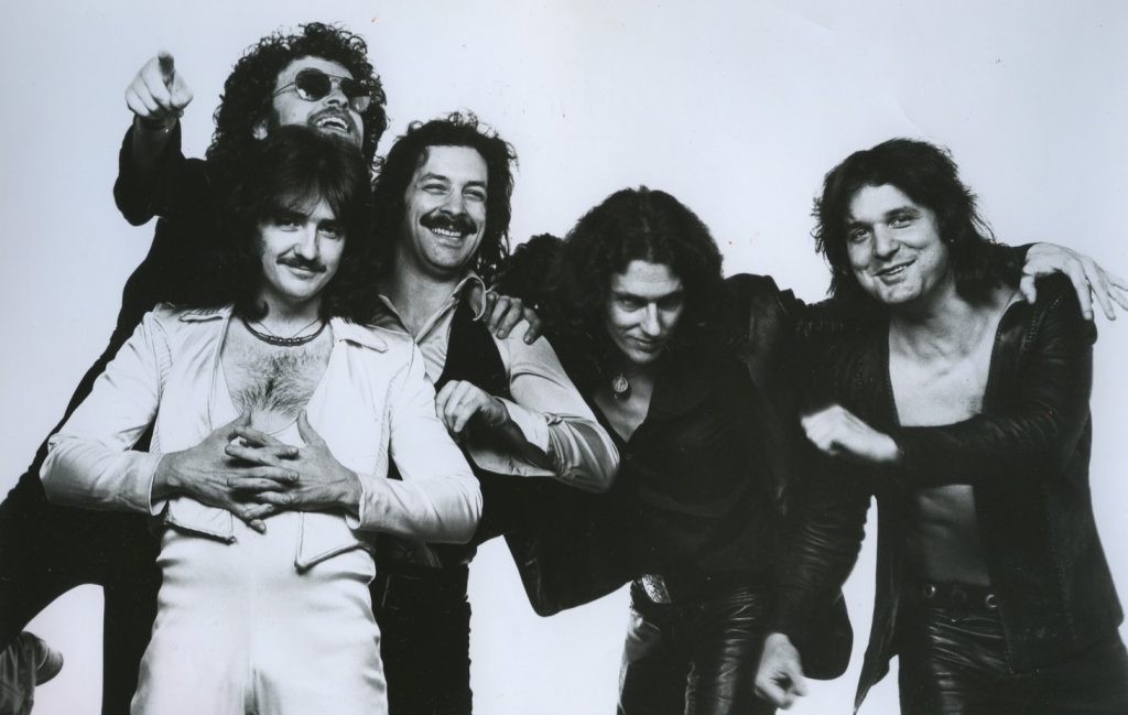 Blue Oyster Cult in 1977 (L-R): Donald Roeser, Eric Bloom, Albert Bouchard, Allen Lanier and Joe Bouchard. (Photo: Columbia Records)