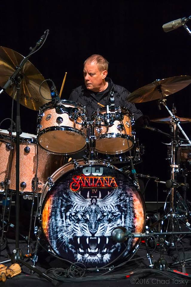 Michael Shrieve with Santana IV in 2016. Photo: Chad Tasky, courtesy of Michael Shrieve