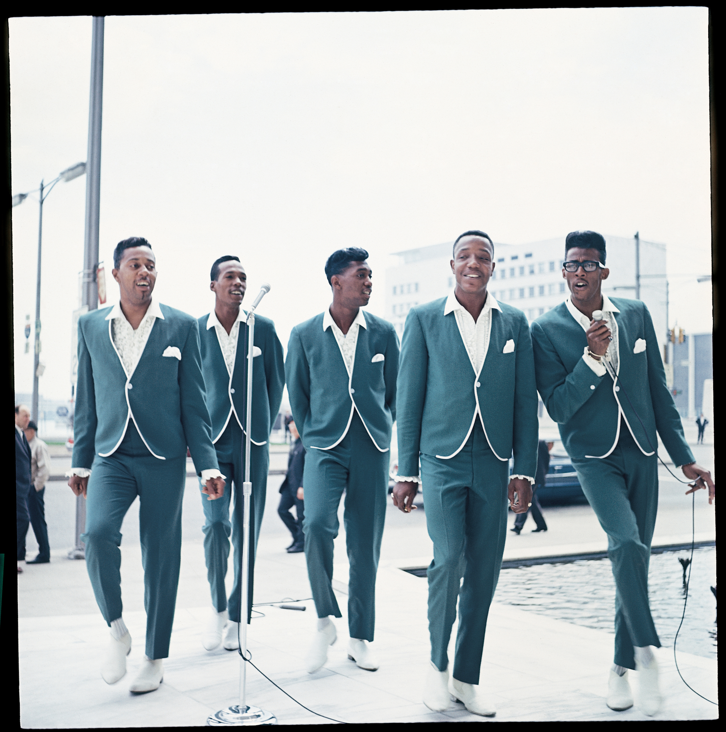 "The Temptations perform their signature hit, ""My Girl,"" in 1965. From L to R: Melvin Franklin, Eddie Kendricks, Otis Williams, Paul Williams and David Ruffin. Photo: Motown Records Archives. Courtesy of the EMI Archive Trust and Universal Music Group."