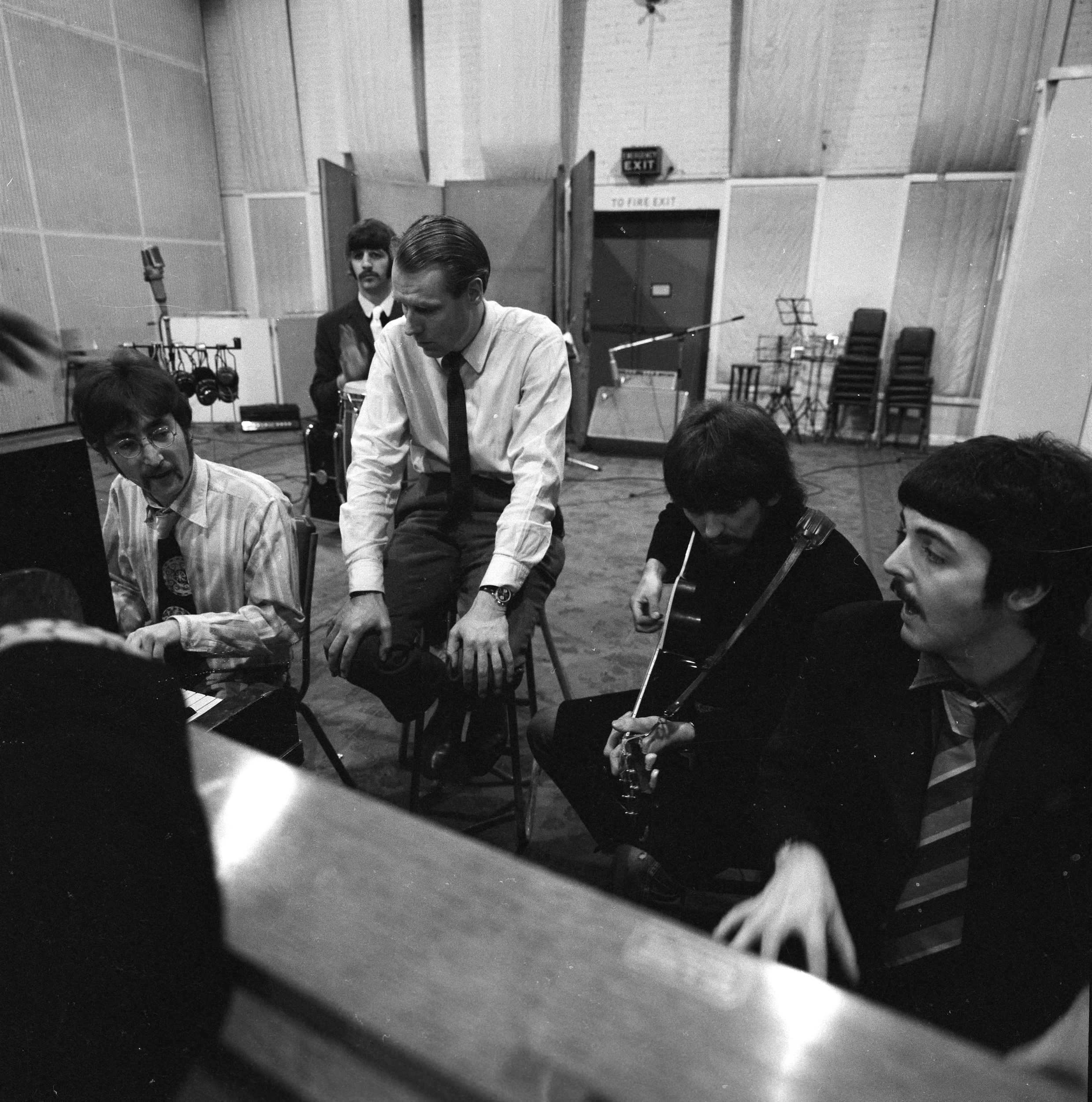The Beatles with George Martin, Abbey Road Studios Jan 1967, courtesy of Apple Corps Ltd.