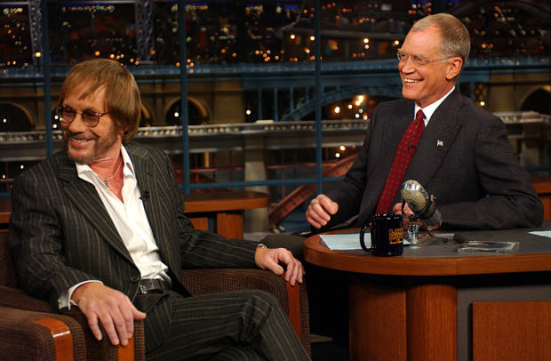 Warren Zevon with David Letterman, October 30, 2002 (Photo: Barbara Nitke/CBS)