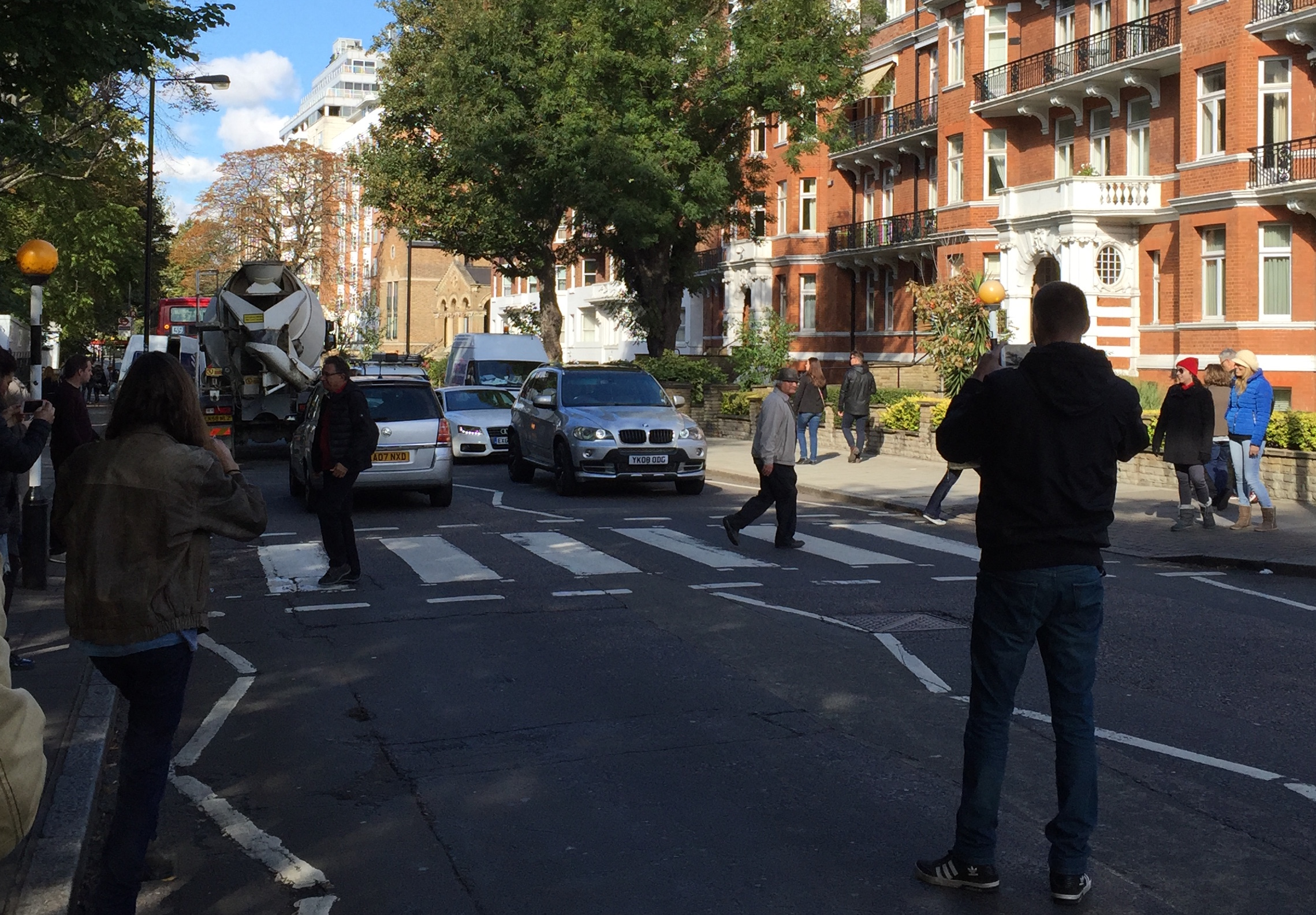Beatles fans stopping traffic at the Abbey Road crosswalk, October 2016 (Photo: Greg Brodsky)