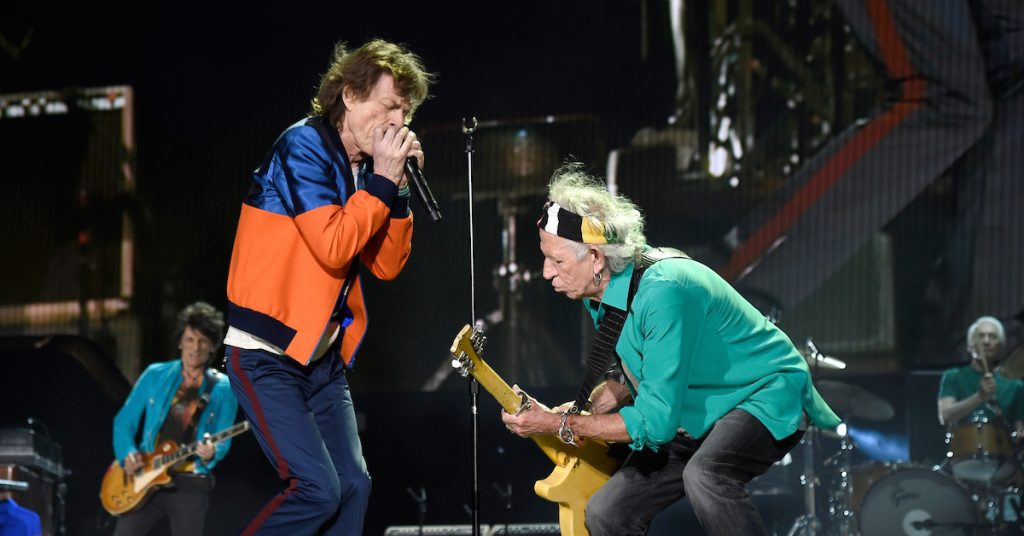 Ronnie Wood, Mick Jagger, Keith Richards and Charlie Watts at Desert Trip, 2016 (Photo by Kevin Mazur/Getty Images for Desert Trip)