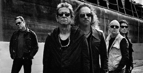 "Lou Reed (2nd from left) and Metallica (""Lulu"" promotional photo)"