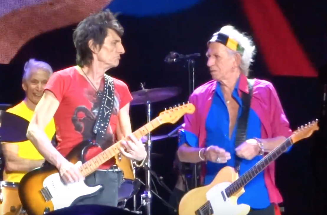 "Charlie Watts, Ronnie Wood and Keith Richards during the Stones' ""Miss You"" at Desert Trip, October 14, 2016"
