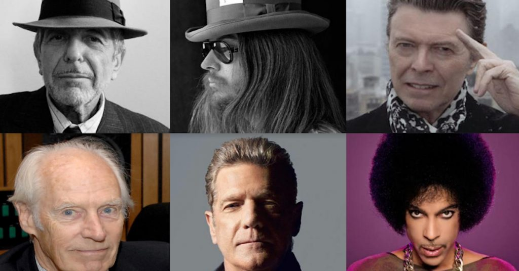 Some of those we lost in 2016. On top row, l. to r.: Leonard Cohen, Leon Russell, David Bowie. Bottom row: George Martin, Glenn Frey, Prince