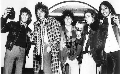Faces promo photo from the mid-'70s. Left to right: Ian McLagan, Rod Stewart, Ronnie Wood, Kenney Jones, Tetsu Yamauchi