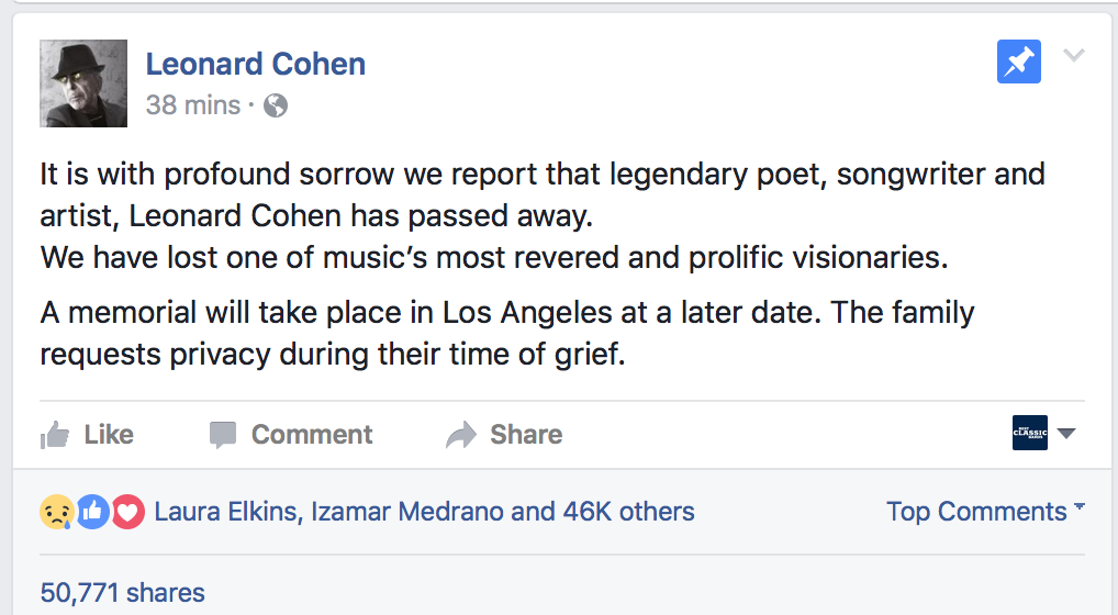 The announcement via Cohen's Facebook page