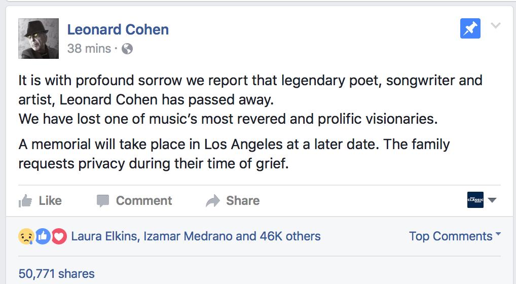 The announcement via Cohen's Facebook page