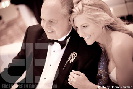 """Can you feel the love tonight?"" Rush Limbaugh at Kathryn Rogers at their 2010 wedding via his Facebook page"