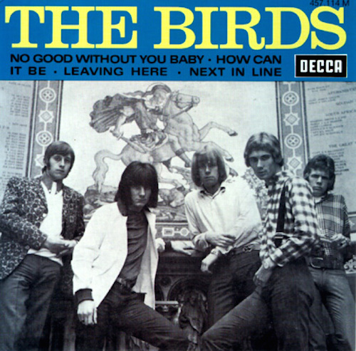 A British 45 RPM single by the Birds, featuring a teenaged Ronnie Wood (2nd from left)