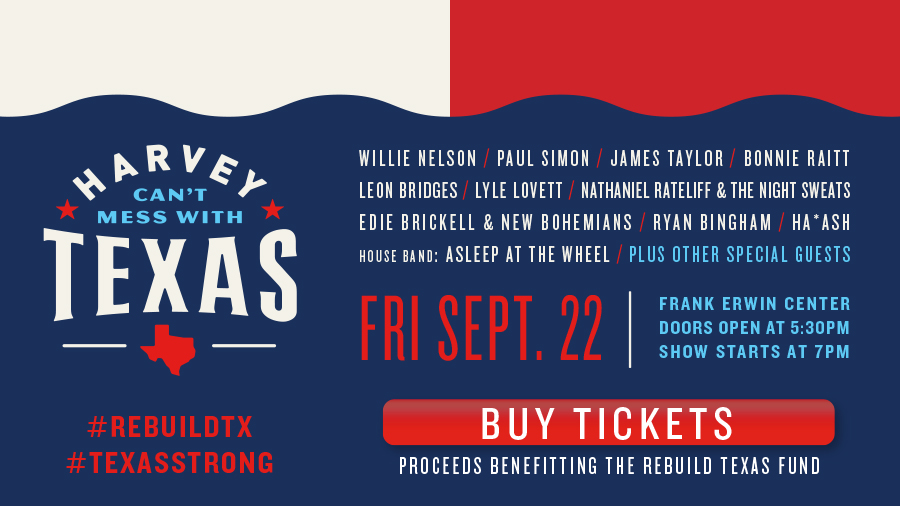 How to Watch Tonight's Star-Studded Harvey Benefit Concert in Austin
